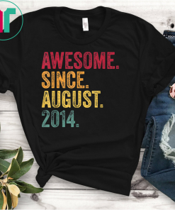 Awesome Since August 2014 5th Birthday Gift Vintage Retro T-Shirt