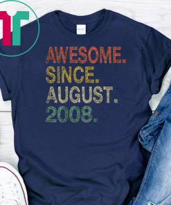 Kids 11th Birthday Gift T-Shirt Awesome Since August 2008 Shirt