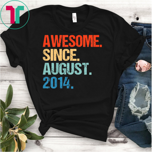 Kids Awesome Since August 2014 Shirt Vintage 5th Birthday Gifts T-Shirt