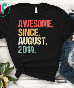Kids Born In AUGUST 2014 5th Birthday Gift T Shirt 5 Yrs Old