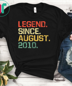 Legend Since August T-Shirt- 9 years old Gifts Shirts