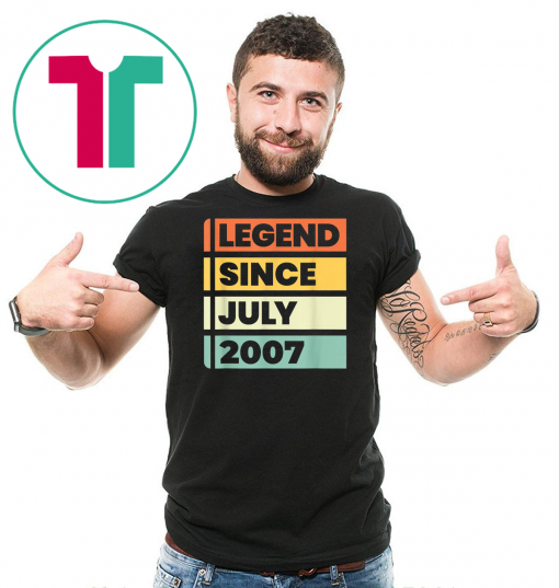 Legend Since July 2007 12 Years Old Birthday Gift T-Shirt