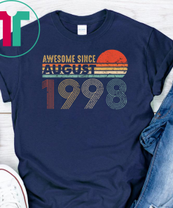 Vintage Awesome Since August 1998 T-Shirt 21st Birthday Gift