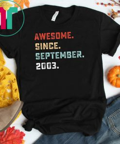 Awesome Since September 2003 Birthday Gift For 16 Yrs Old D1 Tee Shirt