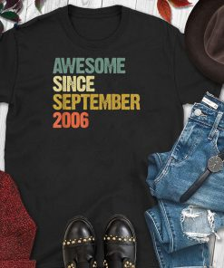 Awesome Since September 2006 13 Years Old 13rd Birthday Gift T-Shirt