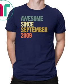 Awesome Since September 2009 10 Years Old 10th Birthday Gift T-Shirt