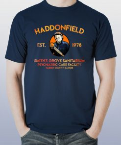 Mens Michael Myers Haddonfield est 1978 Smith's Grove Sanitarium Tee shirt