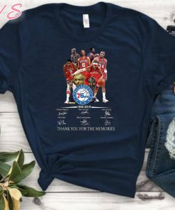 Philadelphia 76ers 1946-2019 signatures thank you for the memories Unisex Gift Tee shirt